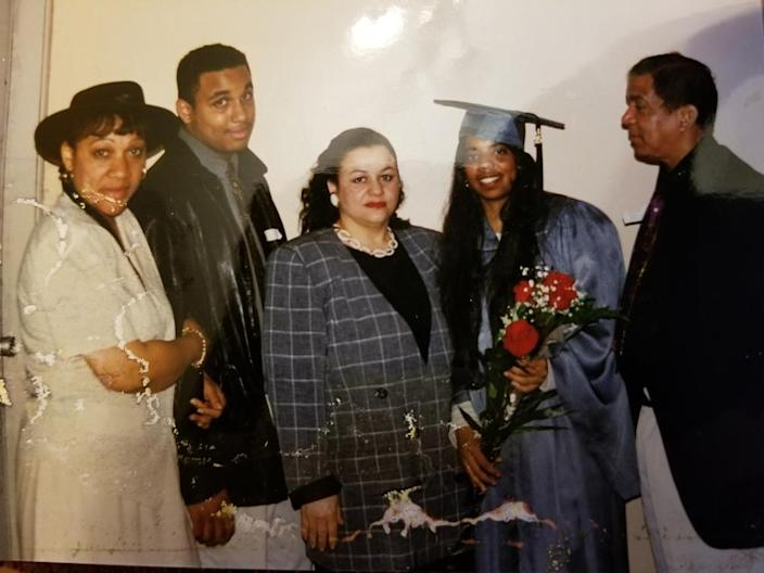 Deni Taveras with family and Uncle Marcial, on the right, after graduation. (Courtesy Council Member Deni Taveras)