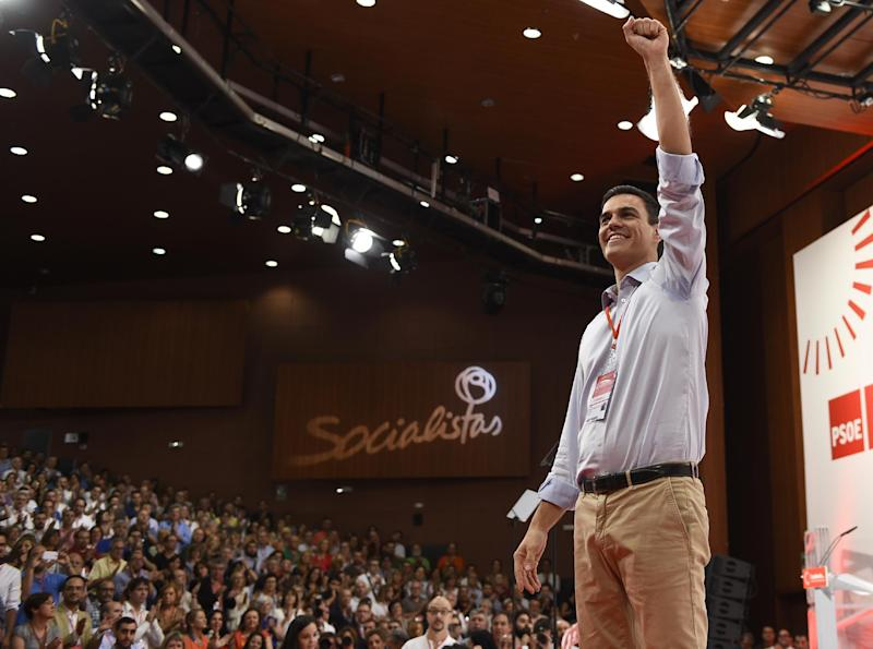 New Secretary General of Spanish Socialist Party (PSOE) Pedro Sanchez gestures on the second and last day of the PSOE extraordinary congress in Madrid on July 27, 2014