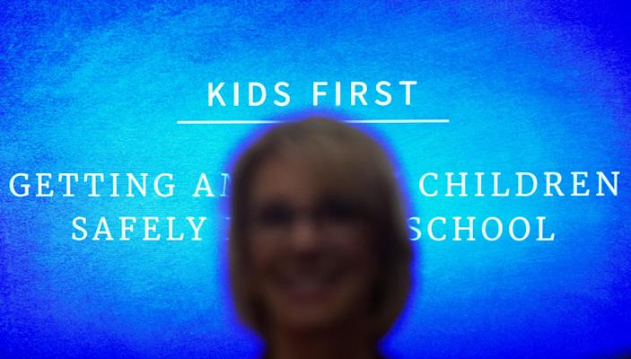 U.S. Education Secretary Betsy DeVos attends a coronavirus disease (COVID-19) pandemic response event about reopening schools hosted by U.S. President Donald Trump at the White House in Washington, U.S., August 12, 2020. REUTERS/Kevin Lamarque