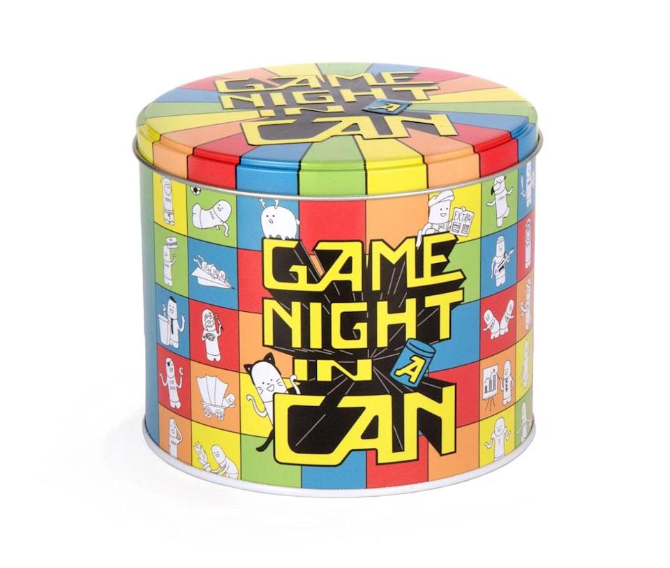 """<p>America's game cabinets saw plenty of use this year as families hunkered down at home. This pack of 30 hilarious games in one is sure to refresh your repertoire for the season. It combines everything from drawing challenges to rowdy, indoor-friendly paper-ball sports sure to entertain your holiday bubble.</p> <p><strong>Buy It!</strong> $20; <a href=""""https://barryandjason.com/products/game-night-in-a-can"""" rel=""""nofollow noopener"""" target=""""_blank"""" data-ylk=""""slk:barryandjason.com"""" class=""""link rapid-noclick-resp"""">barryandjason.com</a></p>"""