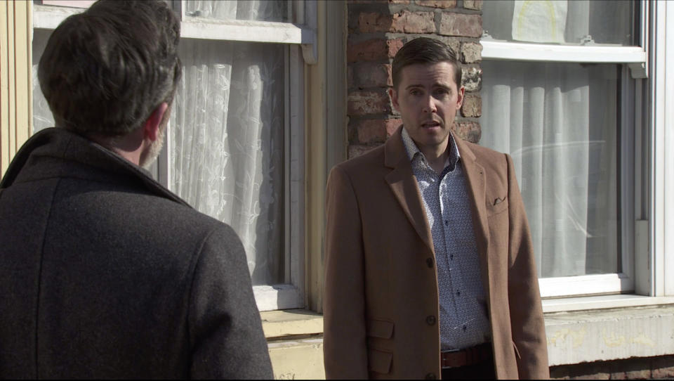 FROM ITV  STRICT EMBARGO - No Use Before Tuesday 23rd March 2021  Coronation Street - Ep 10285  Monday 29th March 2021 - 1st Ep  Billy Mayhew [DANIEL BROCKLEBANK] approaches Todd Grimshaw [GARETH PIERCE] and begs him not to leave on his account. Todd lays his cards on the table and admits he still loves him and he'll stay if they can be together.  Picture contact David.crook@itv.com   This photograph is (C) ITV Plc and can only be reproduced for editorial purposes directly in connection with the programme or event mentioned above, or ITV plc. Once made available by ITV plc Picture Desk, this photograph can be reproduced once only up until the transmission [TX] date and no reproduction fee will be charged. Any subsequent usage may incur a fee. This photograph must not be manipulated [excluding basic cropping] in a manner which alters the visual appearance of the person photographed deemed detrimental or inappropriate by ITV plc Picture Desk. This photograph must not be syndicated to any other company, publication or website, or permanently archived, without the express written permission of ITV Picture Desk. Full Terms and conditions are available on  www.itv.com/presscentre/itvpictures/terms