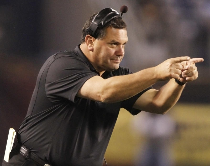 FILE - This Nov. 14, 2009, file photo shows San Diego State head coach Brady Hoke gesturing to his players after a field goal during the second quarter of an NCAA college football game against Wyoming, in San Diego. The coach that led Ball State to a 12-2 season has San Diego State heading to a bowl for the first time since 1991.  (AP Photo/Denis Poroy, File)