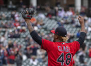 Cleveland Indians relief pitcher Emmanuel Clase celebrates after a win over the Detroit Tigers in a baseball game in Cleveland, Sunday, April 11, 2021. (AP Photo/Phil Long)