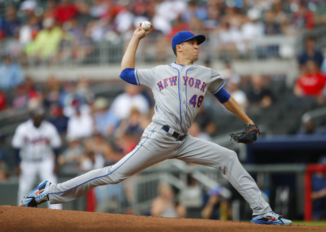 New York Mets starting pitcher Jacob deGrom (48) delivers in the first inning of a baseball game against the Atlanta Braves, Wednesday, June 13, 2018, in Atlanta. (AP Photo/Todd Kirkland)