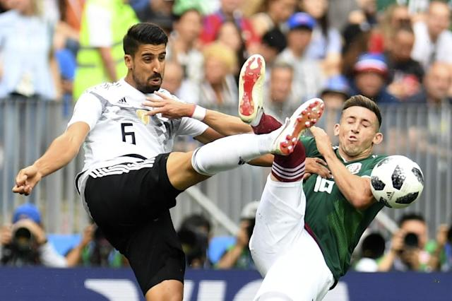 Sami Khedira isn't worried about the prospect of an early Germany exit, despite the holders' defeat by Mexico (AFP Photo/Patrik STOLLARZ)