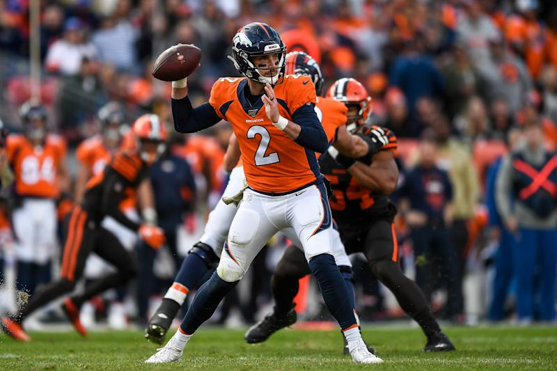 DENVER, CO - NOVEMBER 3: Brandon Allen #2 of the Denver Broncos passes against the Cleveland Browns in the second quarter of a game at Empower Field at Mile High on November 3, 2019 in Denver, Colorado. (Photo by Dustin Bradford/Getty Images)