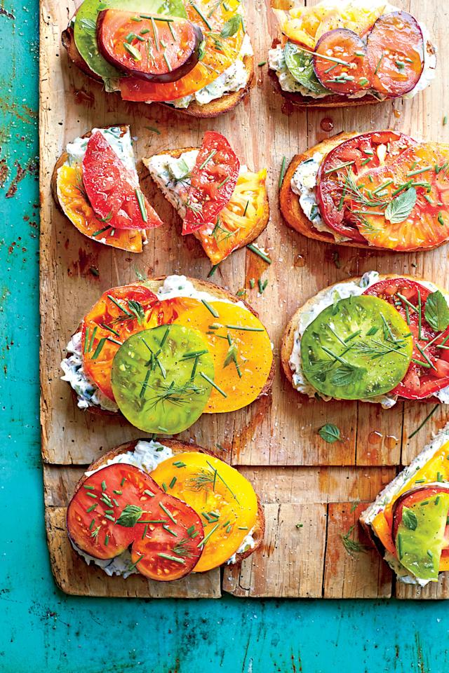 "<p><strong>Recipe: <a href=""http://www.myrecipes.com/recipe/open-faced-tomato-sandwiches-creamy-cucumber-spread"" target=""_blank"">Open-Faced Tomato Sandwiches with Creamy Cucumber Spread</a></strong></p> <p> According to the <em>Southern Living</em> Test Kitchen, you should always use a serrated knife to cut a tomato because it cuts through the tomato's skin without damaging the flesh and losing juice. Knowing this simple trick lets you start every tomato sandwich with the perfect slice. Cucumbers, onion, dill, and mint make up the core of this delicious spread, and the tomatoes are simply the embodiment of the season. These savory sandwiches are great for a casual summer cocktail party. Just slice in half to make handling just a bit easier—especially if guests are also juggling a cocktail glass.</p>"