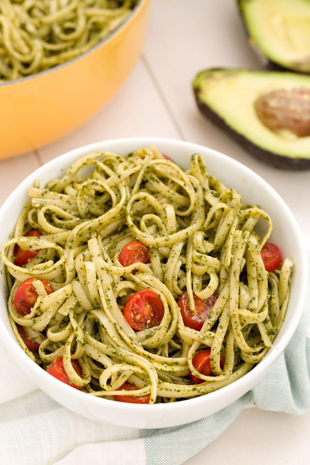 "<p>It's like guac for your pasta.</p><p>Get the recipe from <a rel=""nofollow"" href=""http://www.delish.com/cooking/recipe-ideas/recipes/a45534/avocado-pesto-linguine-recipe/"">Delish</a>.</p>"