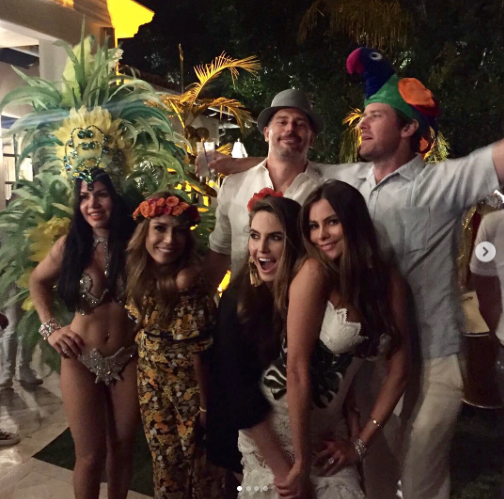 "<p>Vergara struck a pose with Joe, Armie Hammer, a bedazzled dancer, and other friends during the fete. Hammer might be the VIP of this shot, as he sported a pretty fabulous parrot topper that a lesser man might not dare to wear. (Photo: <a href=""https://www.instagram.com/p/BUsGMMwlWCm/"" rel=""nofollow noopener"" target=""_blank"" data-ylk=""slk:Sofia Vergara via Instagram"" class=""link rapid-noclick-resp"">Sofia Vergara via Instagram</a>) </p>"