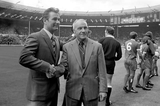 Clough (left), pictured with Liverpool manager Bill Shankly, made a big impression on the English game (PA)
