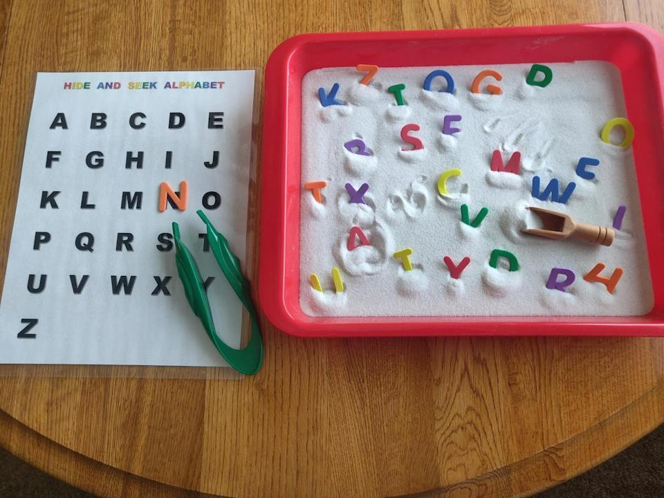<p>Toddlers can channel their inner pirate by digging in the sand for burried alphabet treasure. They will gain dexterity by using the jumbo tweezers to pick up the letters and lining them up on the laminated alphabet sheet. This <span>ThatMakesSenseShop Hide and Seek Alphabet</span> ($25) is as fun as it is educational.</p>