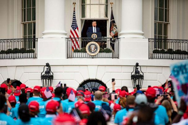 PHOTO: President Donald Trump addresses a rally in support of law and order on the South Lawn of the White House, Oct. 10, 2020, in Washington, DC. (Samuel Corum/Getty Images)