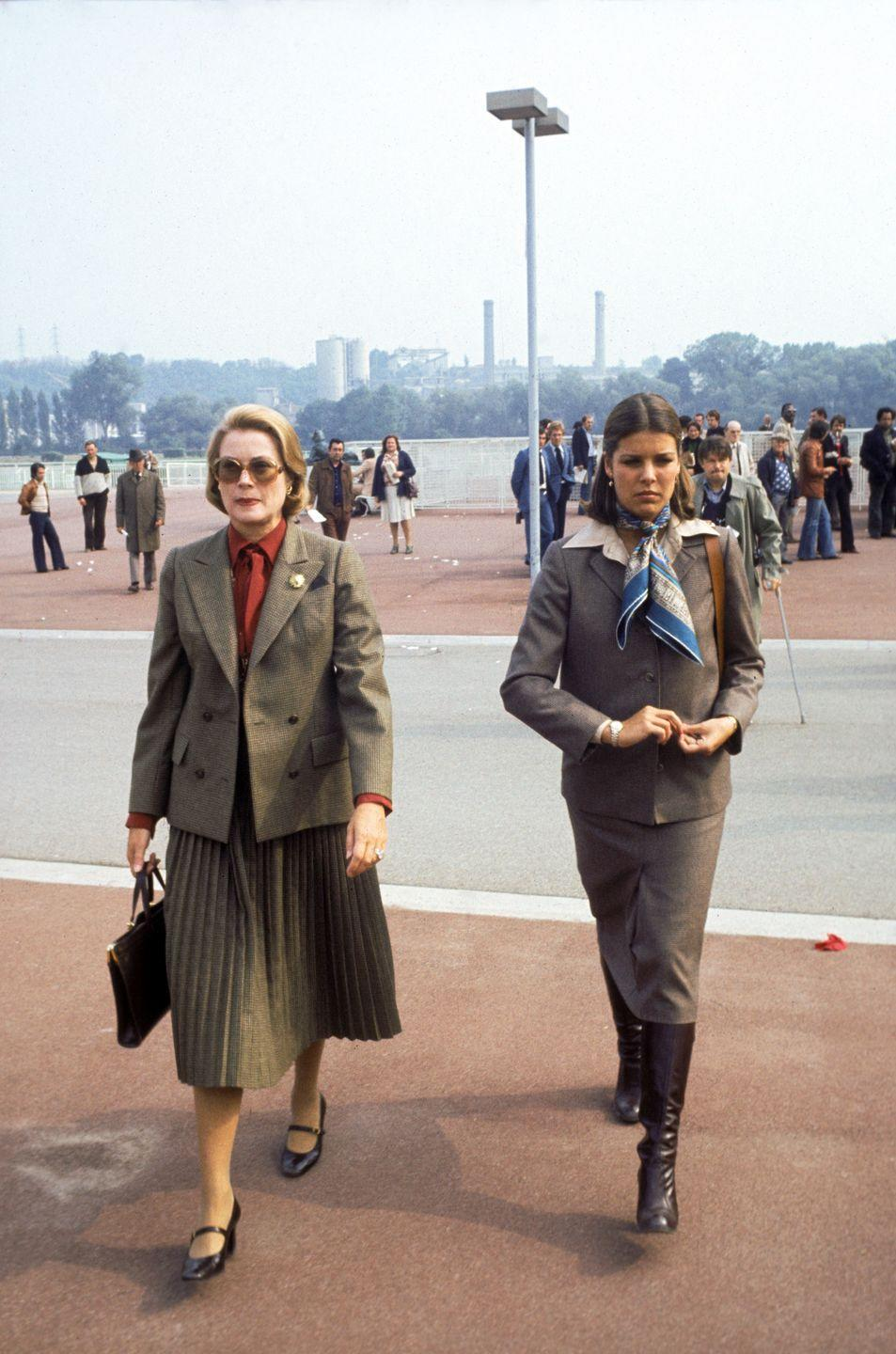 <p>Princess Caroline and her mother Grace Kelly in matching tweed, circa 1970s France.</p>