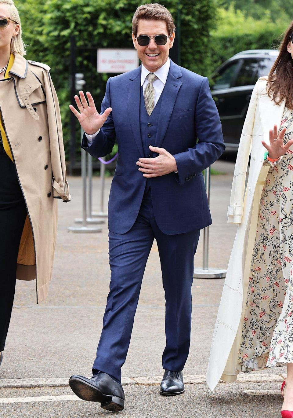 Tom Cruise attends Wimbledon Championships Tennis Tournament Ladies Final Day at All England Lawn Tennis and Croquet Club on July 10, 2021 in London, England.
