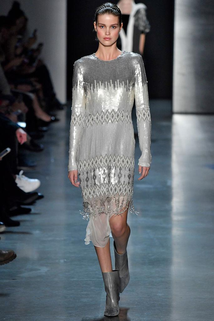 <p>A silver sequined dress at the Prabal Gurung FW18 show. (Photo: Getty) </p>