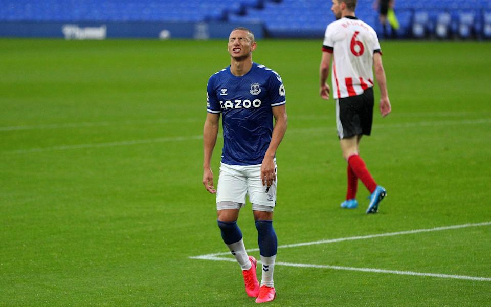 Richarlison shows his frustration after volleying over just before the break - GETTY IMAGES
