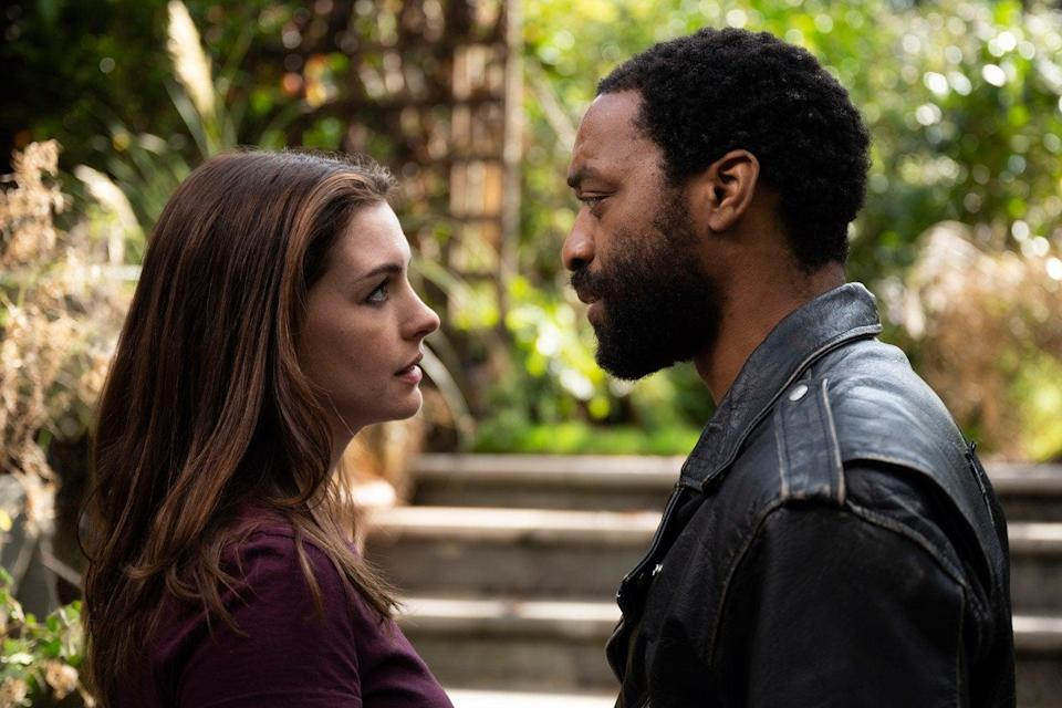 Anne Hathaway and Chiwetel Ejiofor play a recently separated couple trapped at home in 'Locked Down'Warner Bros