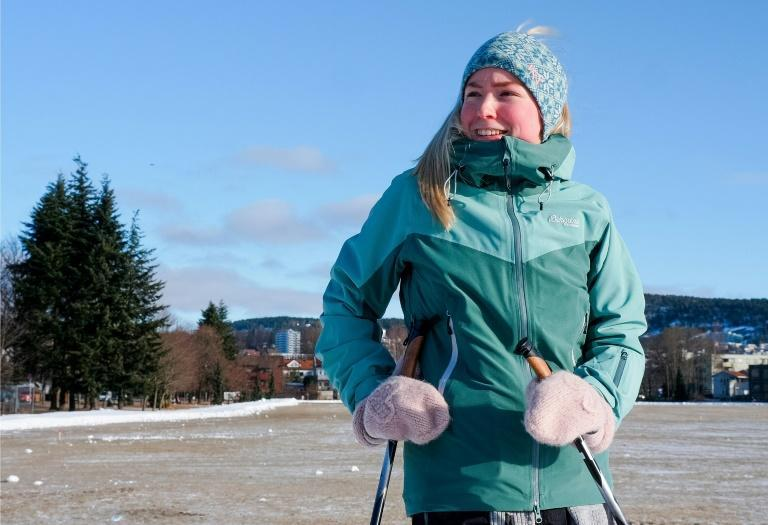 Nurse Karen Margrethe Igland says it is better to use the cross-country ski trails in Oslo parks than have to take public transport out of the city
