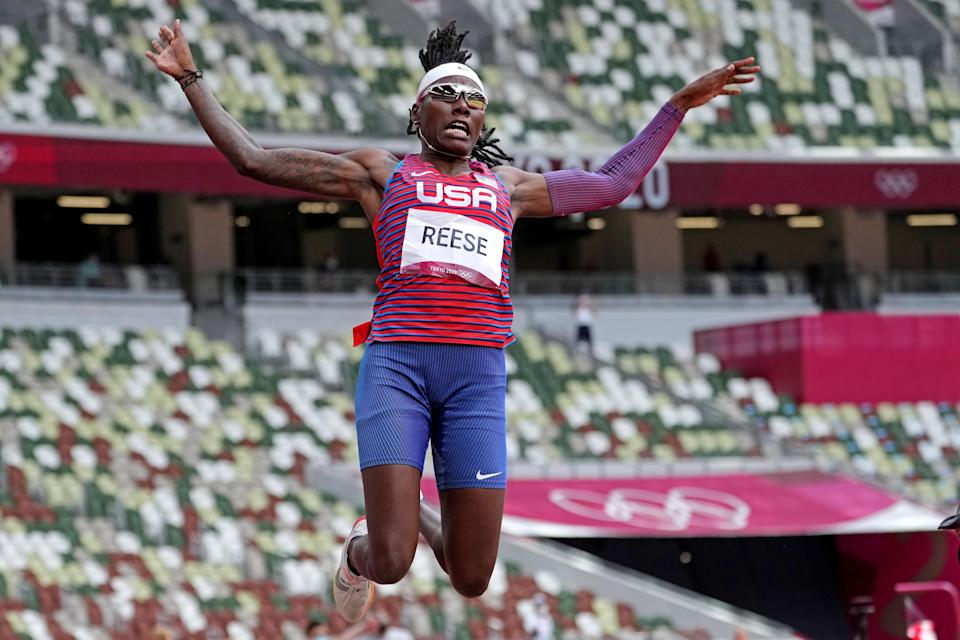American Brittney Reese has medals in the women's long jump in three consecutive Olympics.