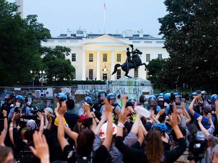 Clashes between police and protesters in Washington DC (EPA)