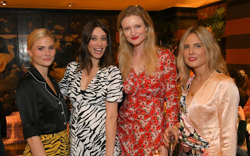 Pandora Sykes, Laura Jackson, Candice Lake and Lucy Williams attend the launch of the RIXO accessories collection with Selfridges at Blakes Hotel in February - Getty Images Europe