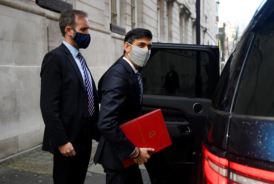 Britain's Chancellor of the Exchequer, Rishi Sunak, leaves a television studio in London, Britain, October 6, 2020. REUTERS/Toby Melville