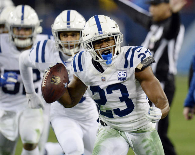 A London-based hedge fund manager credits Indianapolis Colts cornerback Kenny Moore with saving the life of his son's dog and by extension, his son's life as well. (AP)