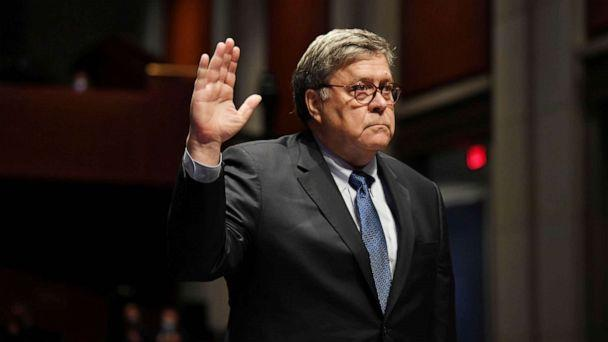 PHOTO: Attorney General William Barr takes the oath before he appears before the House Oversight Committee on Capitol Hill, in Washington, D.C., July 28, 2020. (Matt McClain via Reuters)
