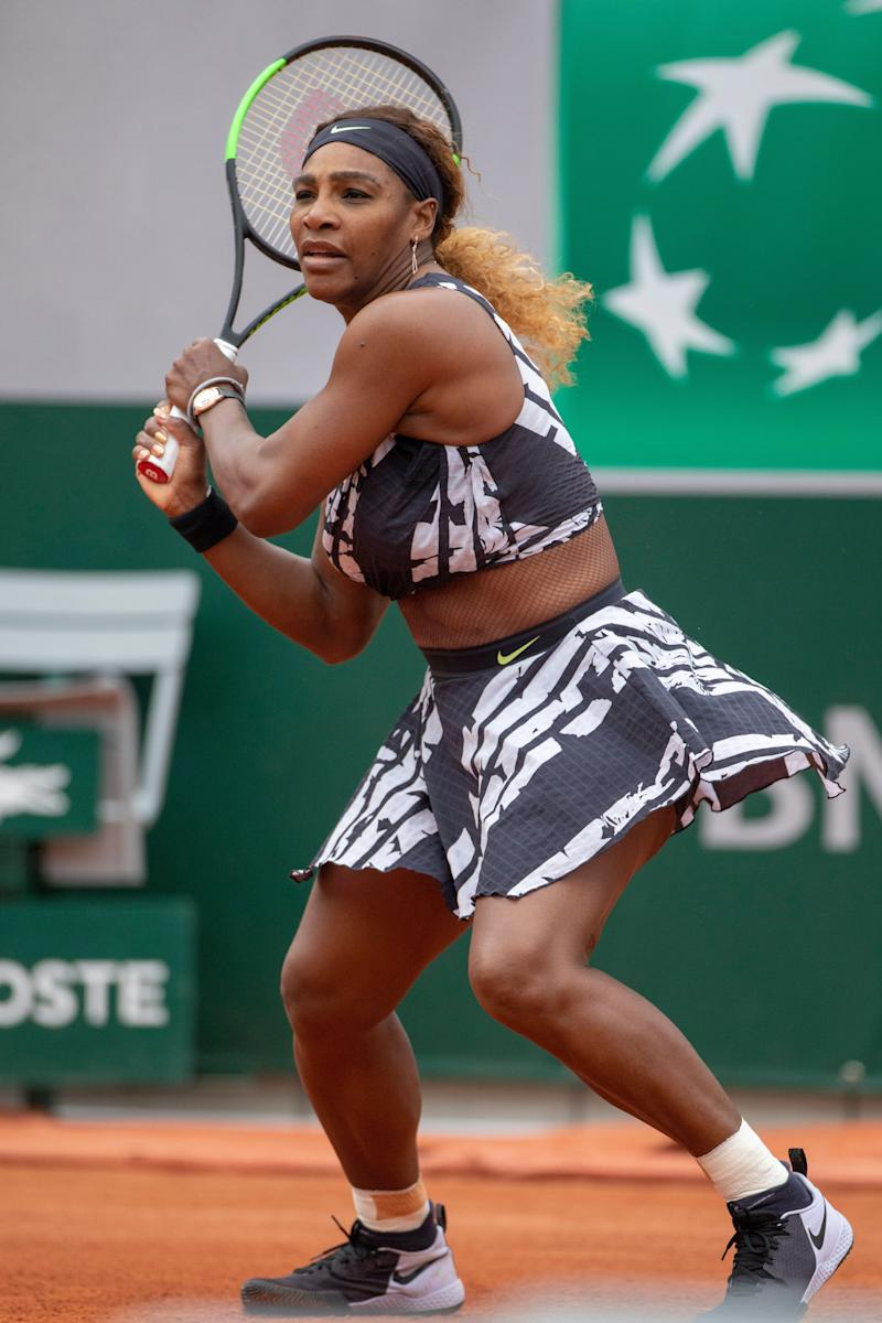 """PARIS, FRANCE May 27. Serena Williams of the United States in action against Vitalia Diatchenko of Russia on Court Philippe-Chatrier in the Women""""u2019s Singles first round match at the 2019 French Open Tennis Tournament at Roland Garros on May 27th 2019 in Paris, France. (Photo by Tim Clayton/Corbis via Getty Images)"""