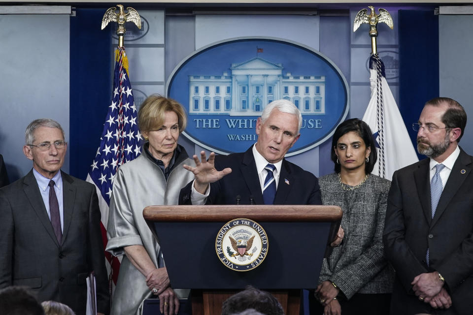 Vice President Mike Pence speaks during a briefing on the administration's coronavirus response. Standing with Pence are Dr. Anthony Fauci, Debbie Birx, Seema Verma and Alex Azar.