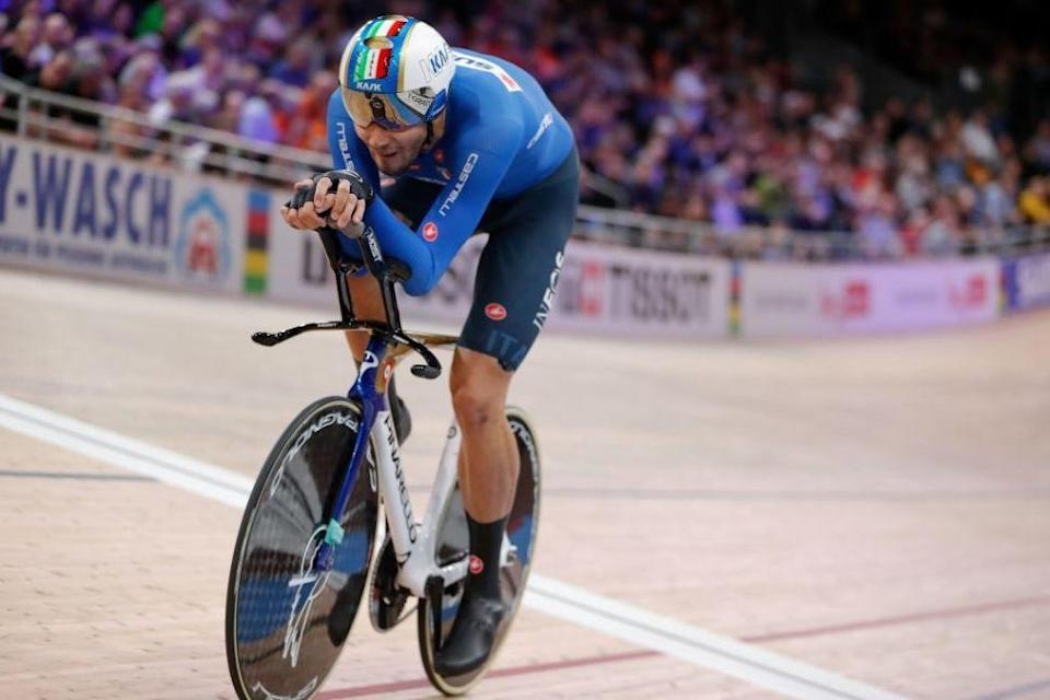 Italy's Filippo Ganna heads for victory in the final of the men's individual pursuit at the 2020 UCI Track World Championships