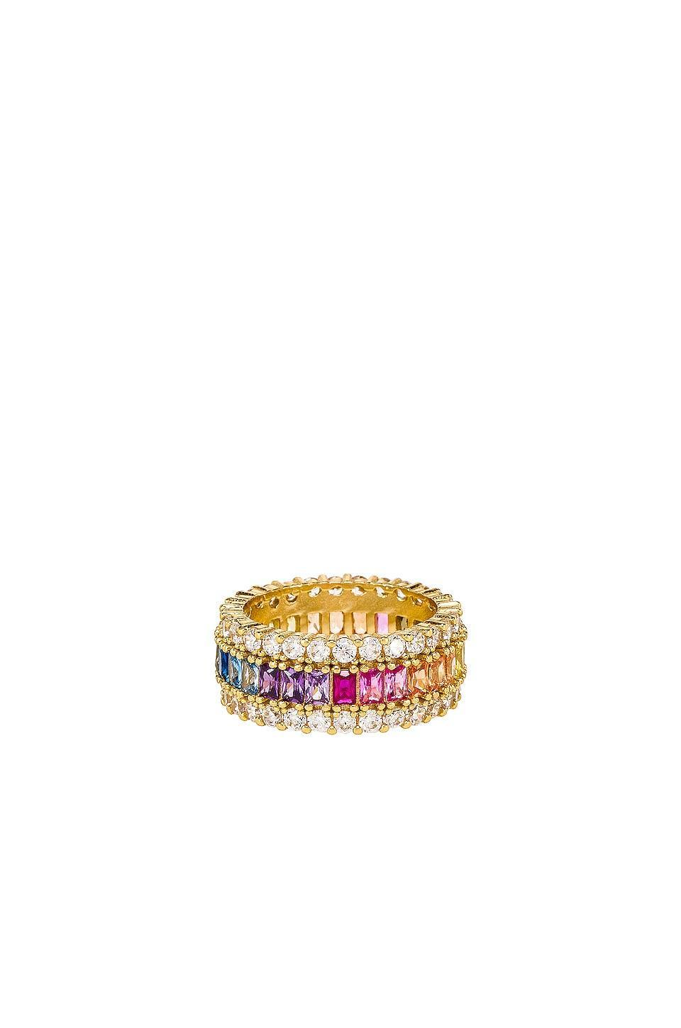 <p>We're loving this chunky <span>The M Jewelers NY Three Row Rainbow Ring</span> ($100). The rainbow baubles are so fun contrasted with the clear stones.</p>