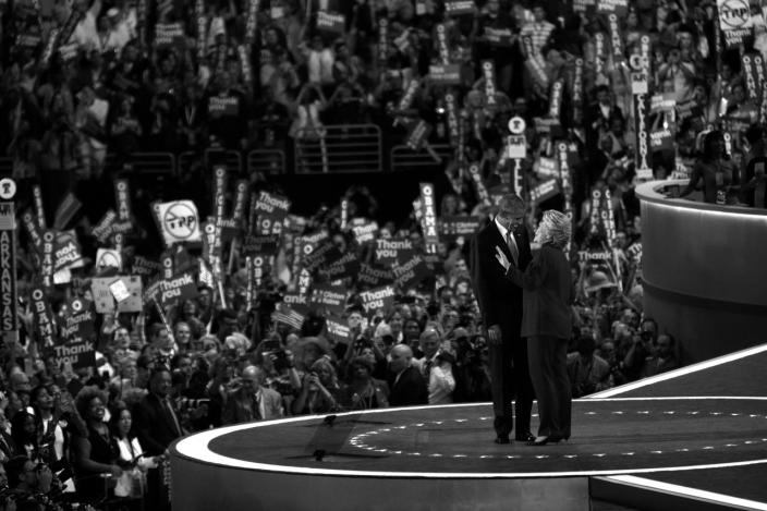 <p>President Barack Obama and former Secretary of State Hillary Clinton share a moment at the Democratic National Convention Wednesday, July 27, 2016, in Philadelphia, PA. Obama ceremoniously passed the torch to his former rival. (Photo: Khue Bui for Yahoo News)</p>