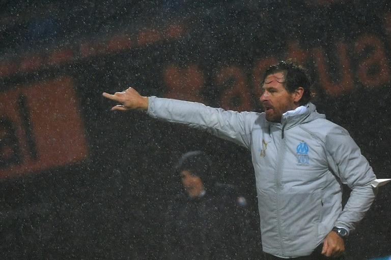 """""""AVB"""" conducts proceedings from the touchline during Marseille's 1-0 win at Lorient in Ligue 1 on Saturday"""