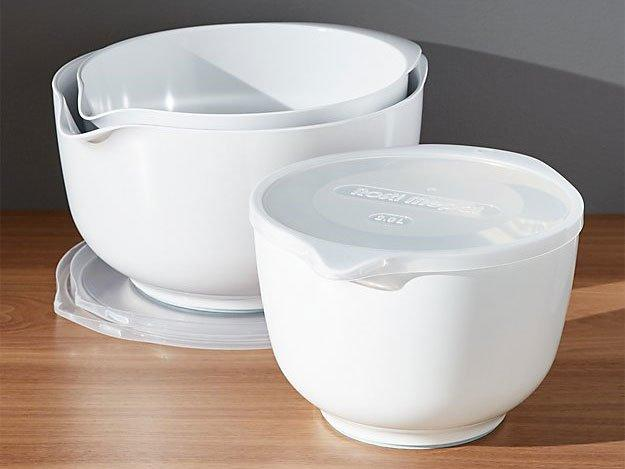 """<p>A great non-skid mixing bowl is key for whipping up pie crust, and this set comes with three sizes to accomodate all wet and dry ingredients. They're also dishwasher and freezer-safe, so storage or cleanup is a breeze.</p> <p><strong>Rosti White Melamine Mixing Bowls with Lids Set, $40 at <a href=""""http://www.anrdoezrs.net/links/7923151/type/dlg/sid/FW%2Cmixing-bowls-pastry-tools-FT-BLOG0319.jpg%2Cvgucwa805%2C%2CIMA%2C1348009%2C201903%2CI,FW/https://www.crateandbarrel.com/rosti-white-melamine-mixing-bowls-with-lids-set/s173006"""" target=""""_blank"""">crateandbarrel.com</a></strong></p>"""
