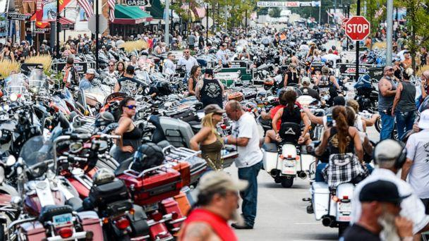 PHOTO:  Motorcycles and people crowd Main Street during the 80th Annual Sturgis Motorcycle Rally in Sturgis, S.D., Aug. 7, 2020. (Michael Ciaglo/Getty Images, FILE)