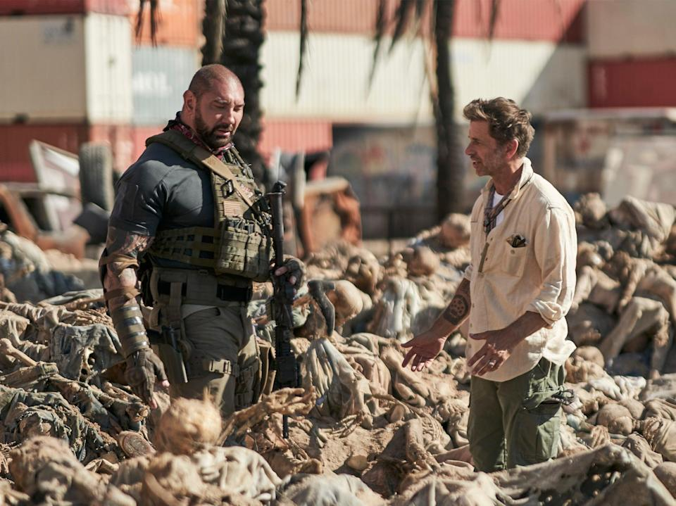 Zack Snyder (right) with Dave Bautista (left) on the set of Army of the Dead (CLAY ENOS/NETFLIX)