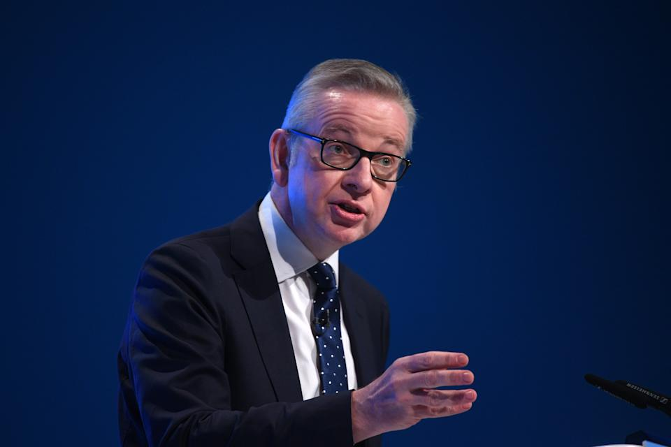 Chancellor of the Duchy of Lancaster Michael Gove speaking at the Conservative Party Conference being held at the Manchester Convention Centre.
