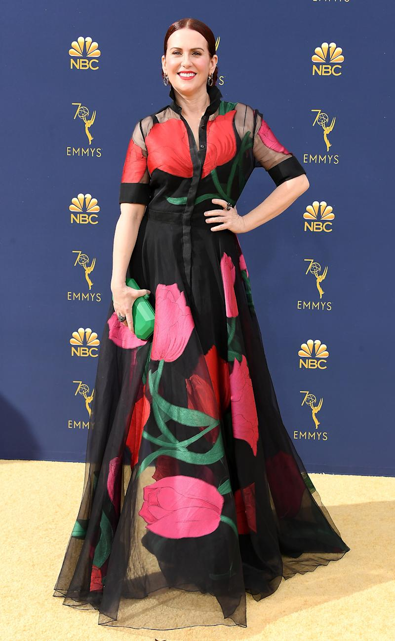 1d00f64a1e Megan Mullally Reveals Designers Won't Dress Her for SAG Awards, Christian  Siriano Steps Up to the Plate