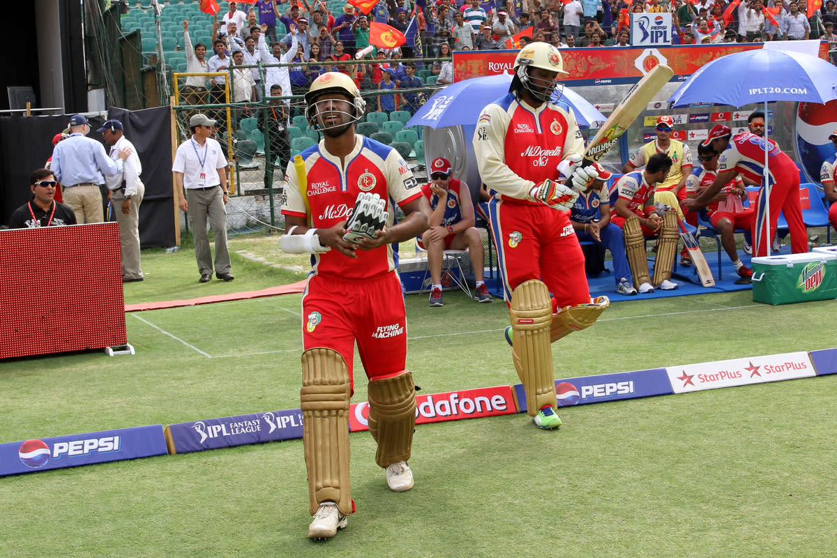 RCB's opening batsmans Abhinav Mukund and Chris Gayle during match 40 of the Pepsi Indian Premier League ( IPL) 2013  between The Rajasthan Royals and the Royal Challengers Bangalore held at the Sawai Mansingh Stadium in Jaipur on the 29th April 2013Photo by Prashant Bhoot-IPL-SPORTZPICS Use of this image is subject to the terms and conditions as outlined by the BCCI. These terms can be found by following this link:https://ec.yimg.com/ec?url=http%3a%2f%2fwww.sportzpics.co.za%2fimage%2fI0000SoRagM2cIEc&t=1503161422&sig=BiHndcGC7E_L386rCP.x_A--~D