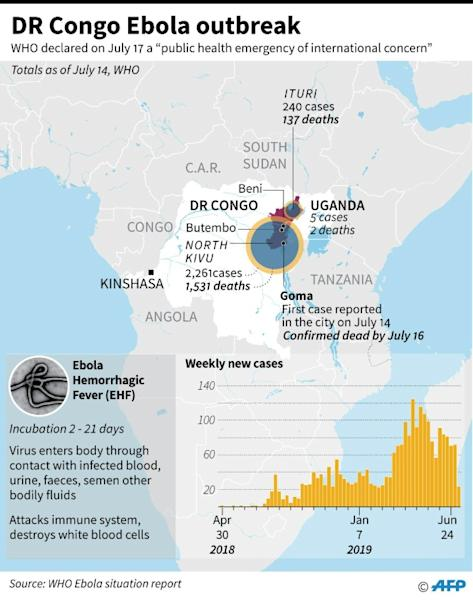 Factfile on the Ebola outbreak in DR Congo that has left hundreds of people dead since April 2018 (AFP Photo/John SAEKI)