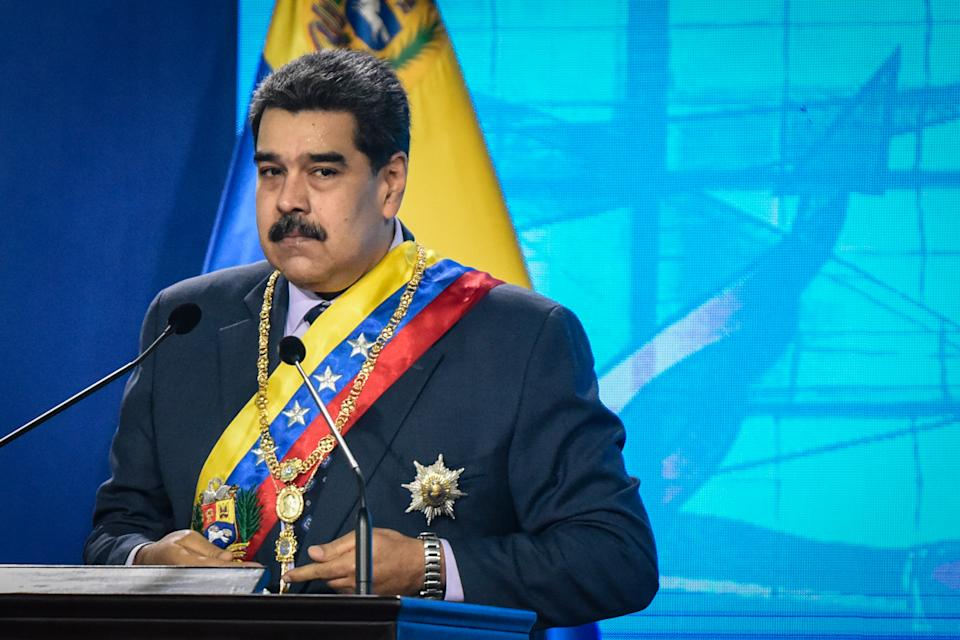CARACAS, VENEZUELA - JANUARY 22: Venezuelan President Nicolas Maduro makes a pause as he delivers a speech during the opening ceremony of the judicial year at the Supreme Court of Justice building in Caracas, on January 22, 2021. (Photo by Carolina Cabral Fernandez/Anadolu Agency via Getty Images)