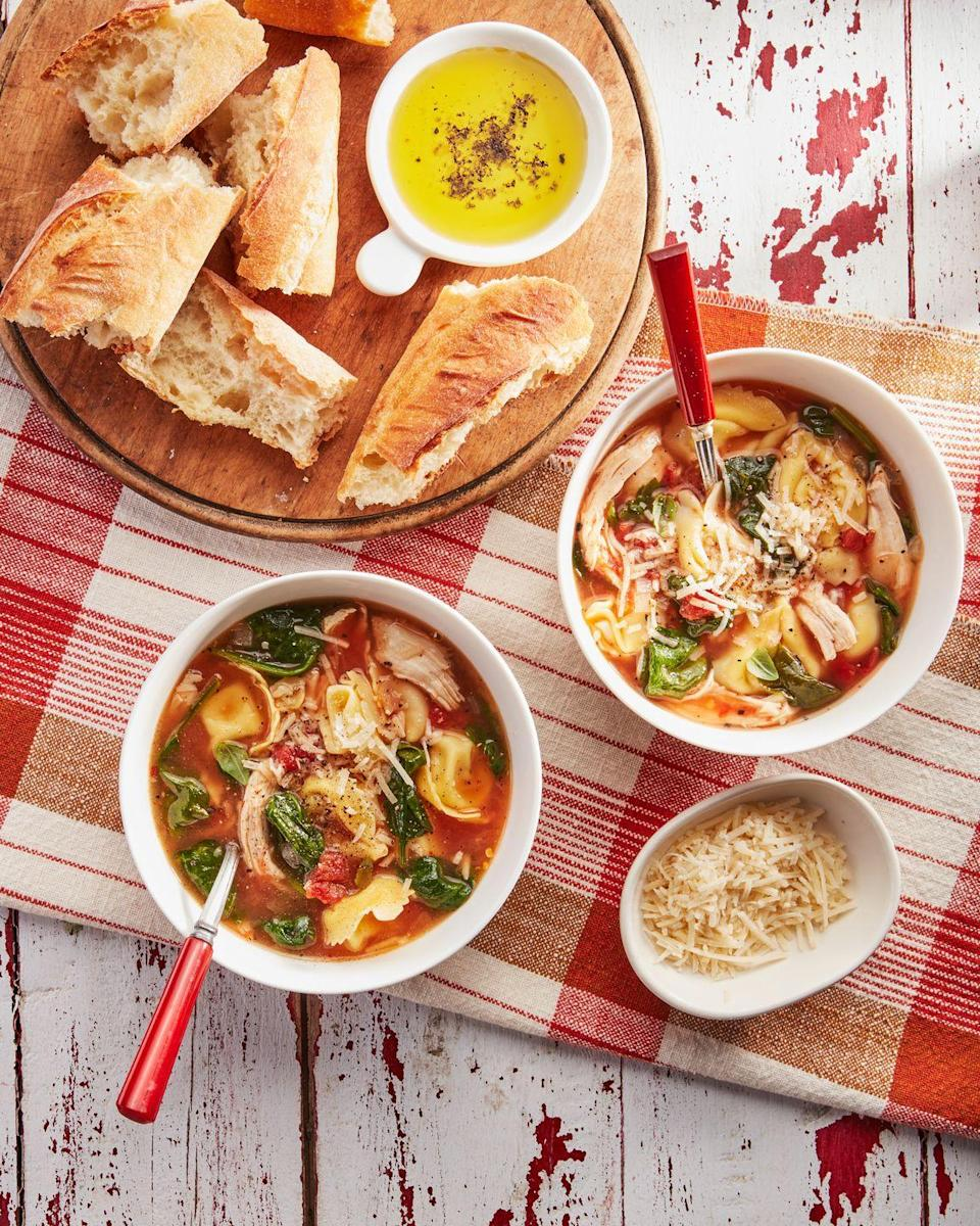"""<p>Honestly, we could eat this soup for days.</p><p><strong><a href=""""https://www.countryliving.com/food-drinks/a36342801/easy-chicken-and-spinach-tortellini-soup-recipe/"""" rel=""""nofollow noopener"""" target=""""_blank"""" data-ylk=""""slk:Get the recipe"""" class=""""link rapid-noclick-resp"""">Get the recipe</a>.</strong></p>"""