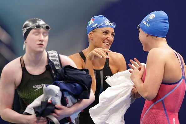 TOKYO, JAPAN - AUGUST 25: Carlotta Gilli (R) and Alessia Berra of Team Italy celebrate after competing in the women's 100m Butterfly - S14 final on day 1 of the Tokyo 2020 Paralympic Games at Tokyo Aquatics Centre on August 25, 2021 in Tokyo, Japan. (Photo by Adam Pretty/Getty Images) (Photo: Adam Pretty via Getty Images)