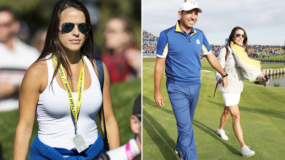 Sergio Garcia and wife Angela Akins, pictured here at the Ryder Cup in 2018.