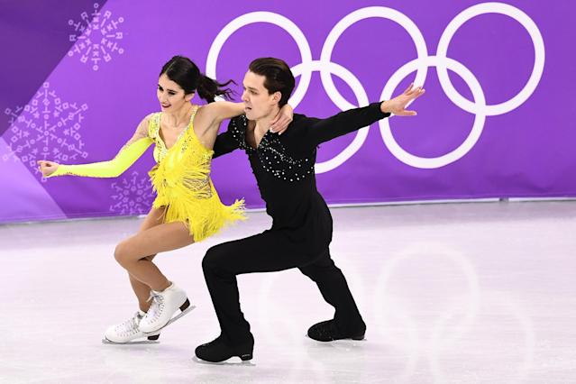 <p>Cortney Mansourova and Michal Ceska of the Czech Republic compete during the Figure Skating Ice Dance Short Dance on day 10 of the PyeongChang 2018 Winter Olympic Games at Gangneung Ice Arena on February 19, 2018 in Pyeongchang-gun, South Korea. (Photo by Dean Mouhtaropoulos/Getty Images) </p>