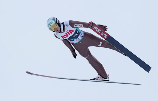FIS Ski Jumping World Cup - Men's HS134 - Oslo, Norway - March 10, 2018. Stefan Hula of Poland competes. NTB Scanpix/Terje Bendiksby via REUTERS ATTENTION EDITORS - THIS IMAGE WAS PROVIDED BY A THIRD PARTY. NORWAY OUT. NO COMMERCIAL OR EDITORIAL SALES IN NORWAY.