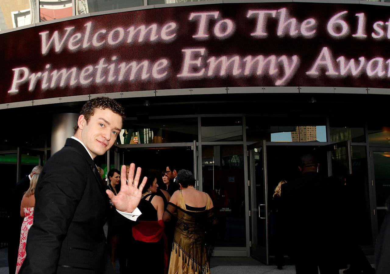 Justin Timberlake arrives at the 61st Primetime Emmy Awards held at the Nokia Theatre on September 20, 2009, in Los Angeles.