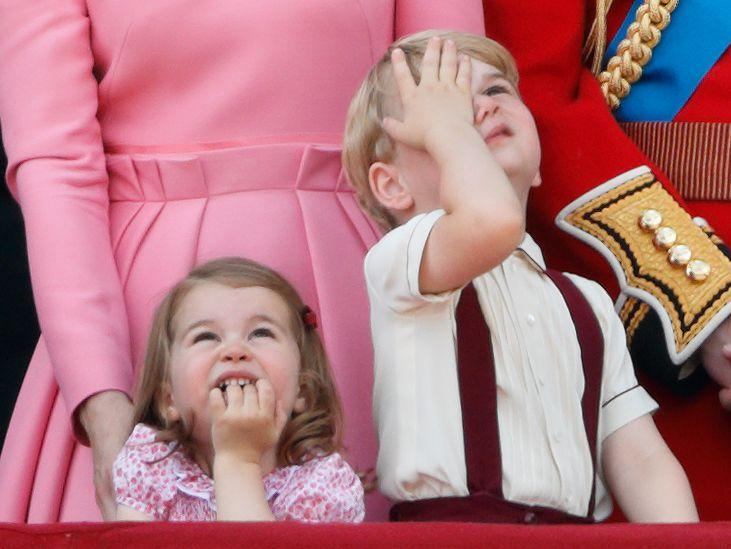 <p>When Prince George and Princess Charlotte joined the senior members of the royal family for the Queen's 91st birthday celebrations in 2017, they were of course the cutest ones on the balcony. Charlotte matched her mum for a second year, this time in a pink printed dress, while George looked utterly unimpressed by the annual Trooping the Colour flypast. </p>