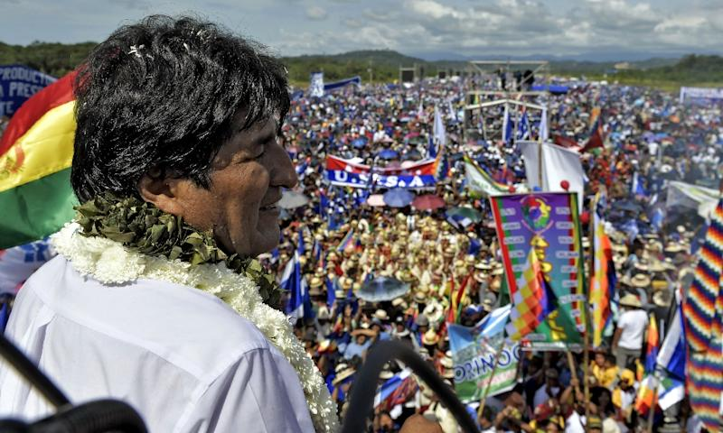 A huge crowd turned out to see Bolivian President Evo Morales launch his campaign for re-election in Chimore, Cochabamba on May 18, 2019 (AFP Photo/Freddy ZARCO)